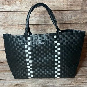 Kate Spade HUGE Black and White Woven Wicker Tote